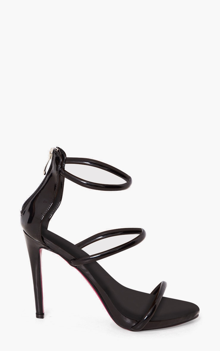 Marthea Black Tube Strap Heeled Sandals 3