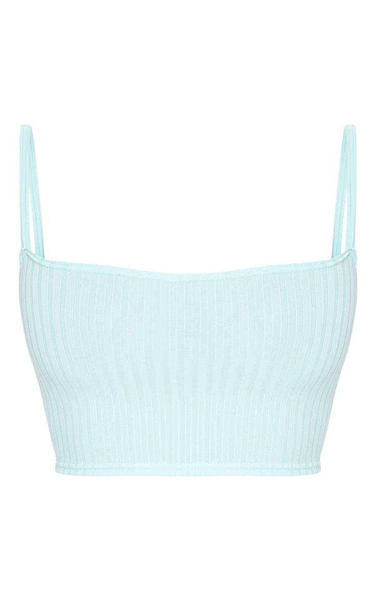 Mint Rib Square Neck Crop Top 5