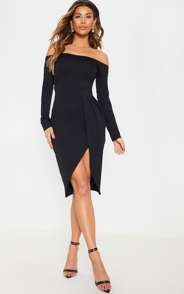 Black Long Sleeve Bardot Wrap Midi Dress 1