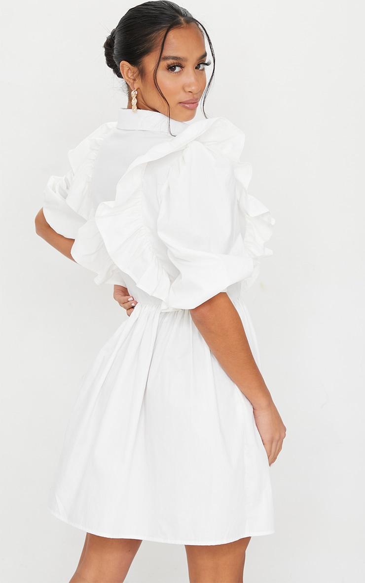 Petite White Ruffle Detail Shirt Dress 2