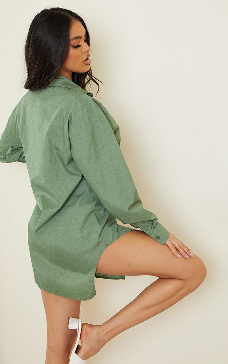 Khaki Woven Button Down Side Split Detail Shirt Dress 2