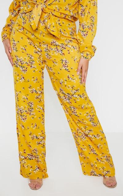 Plus Yellow Floral Wide Leg Trouser