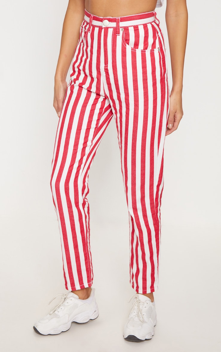 Red Stripe Leg Jeans  2