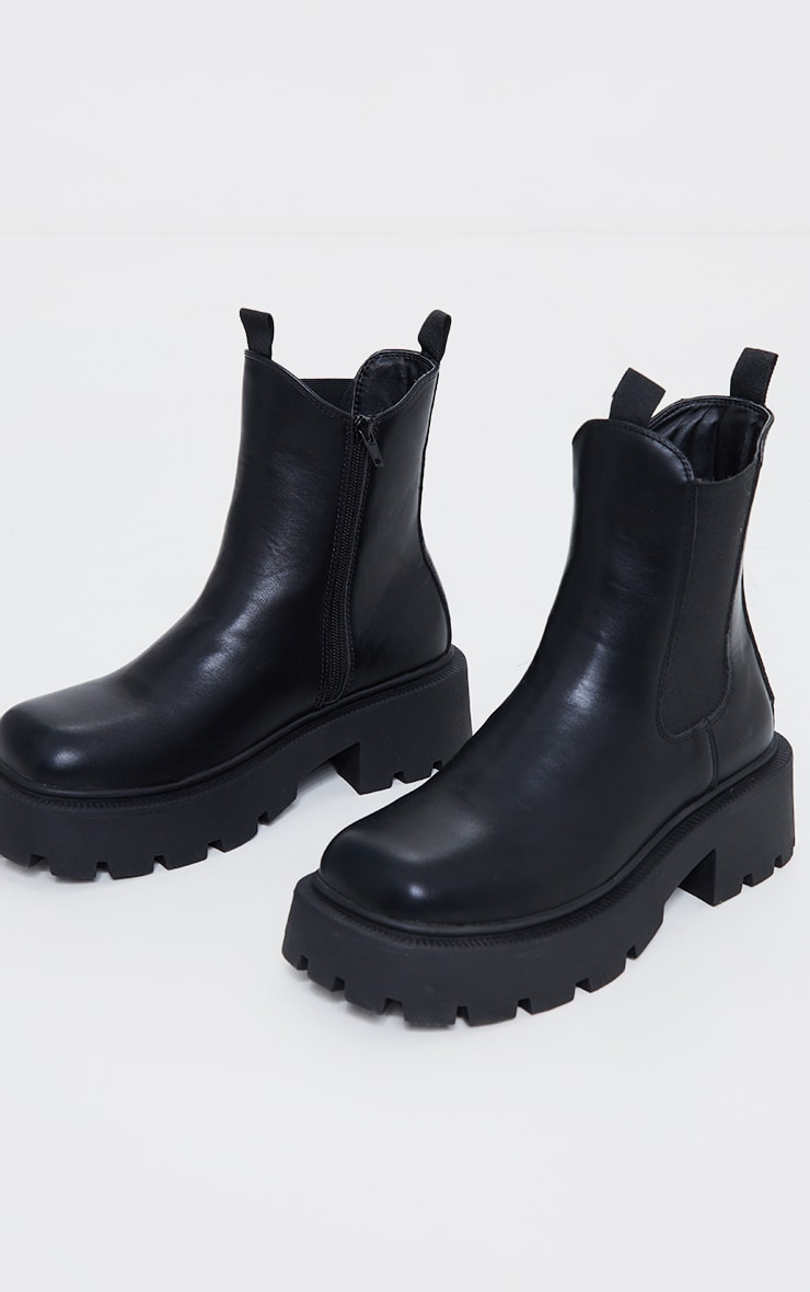 Black Wide Fit Chunky Chelsea Biker Boots 3