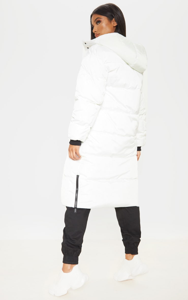 White Maxi Contrast Hooded Puffer 2