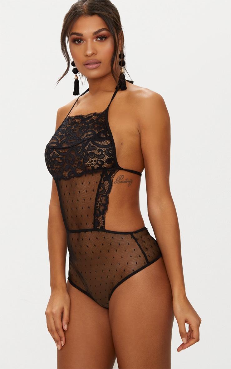 Black Lace Halterneck Backless Thong Bodysuit  2