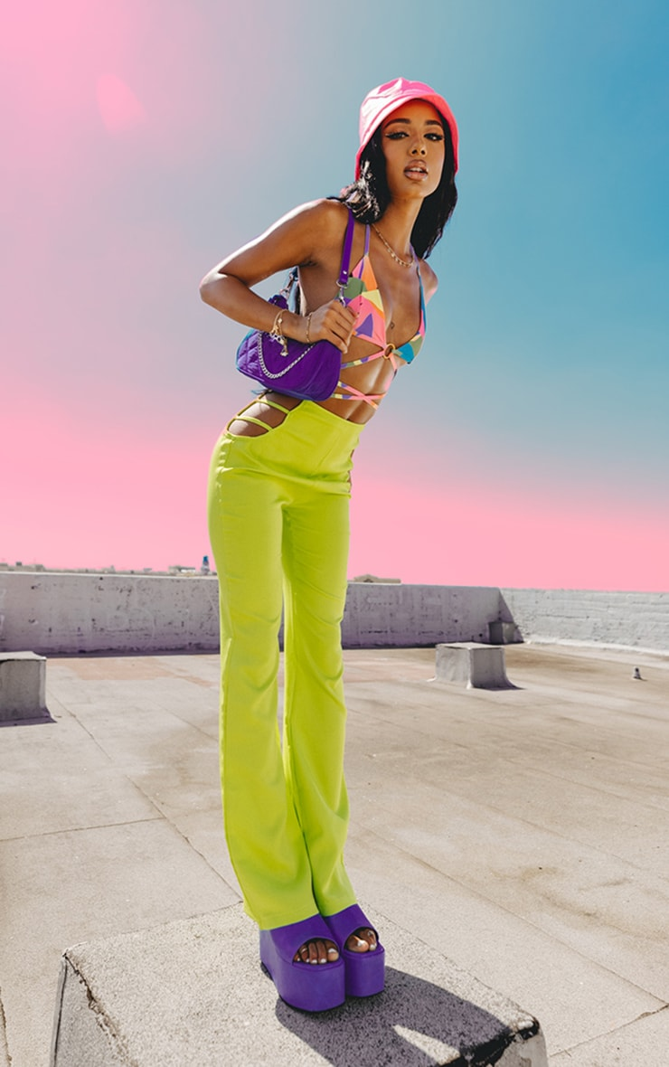 Lime Woven Cut Out Detail Skinny Flared Trousers 1