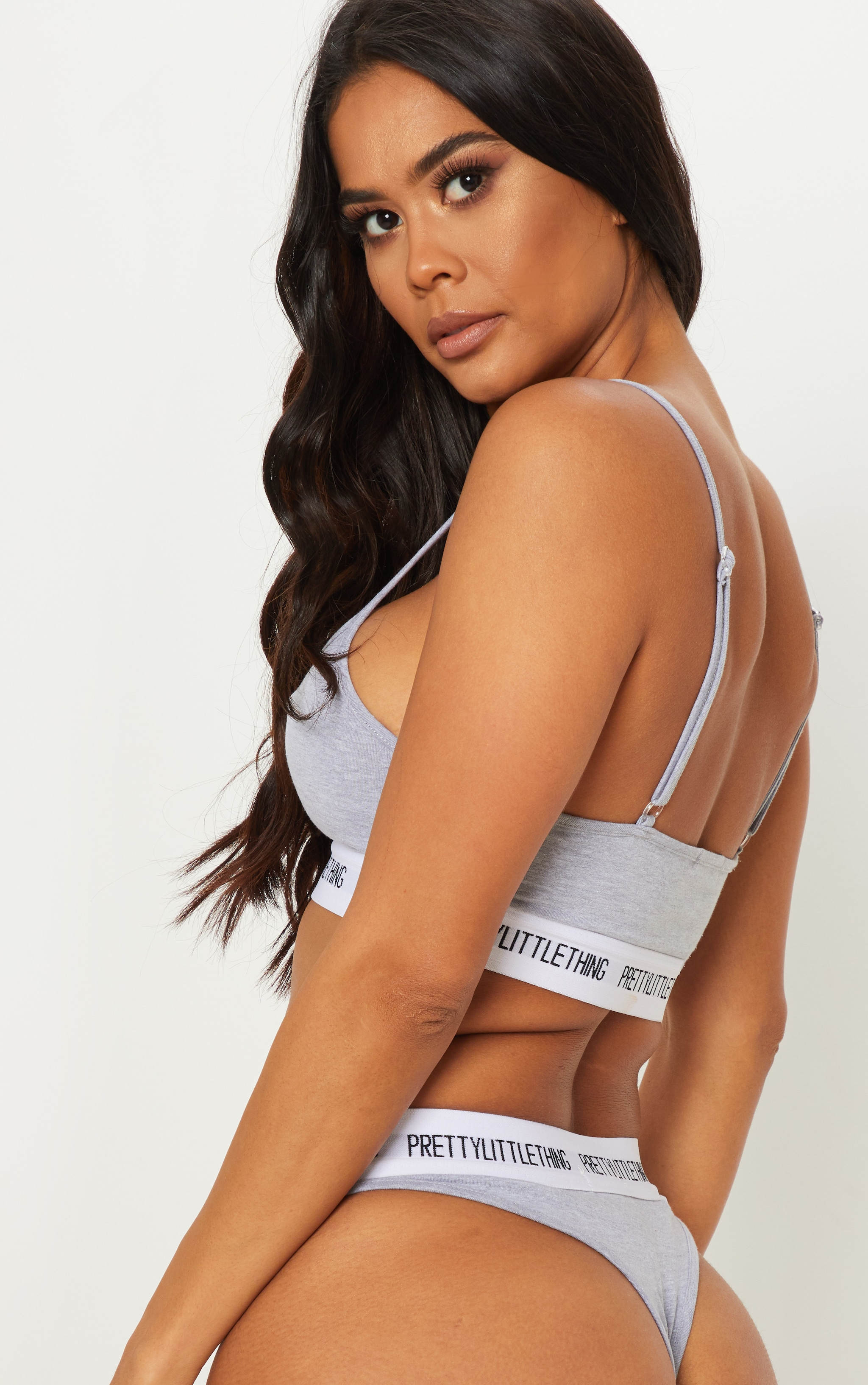 PRETTYLITTLETHING Light Grey Cut Out Bralet 2