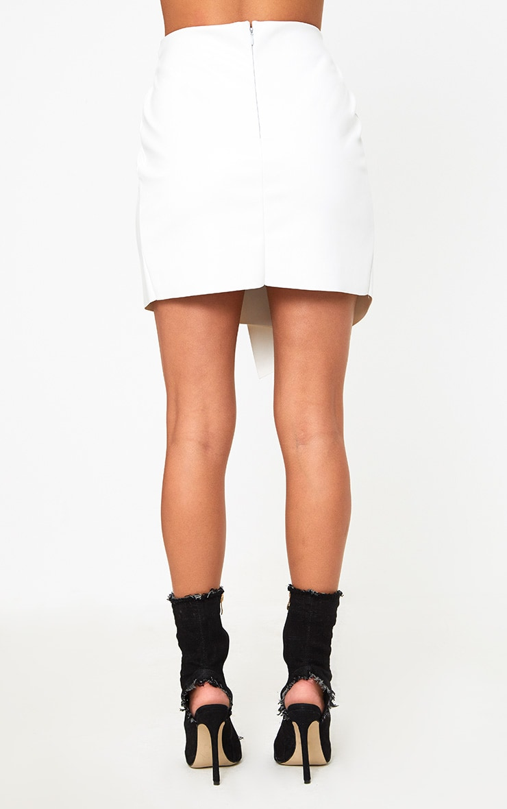 White Faux Leather Ring Belt Mini Skirt 4