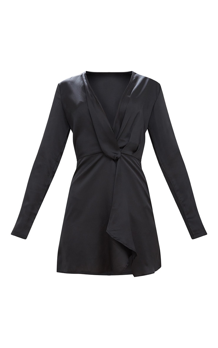 Black Satin Long Sleeve Wrap Dress  3