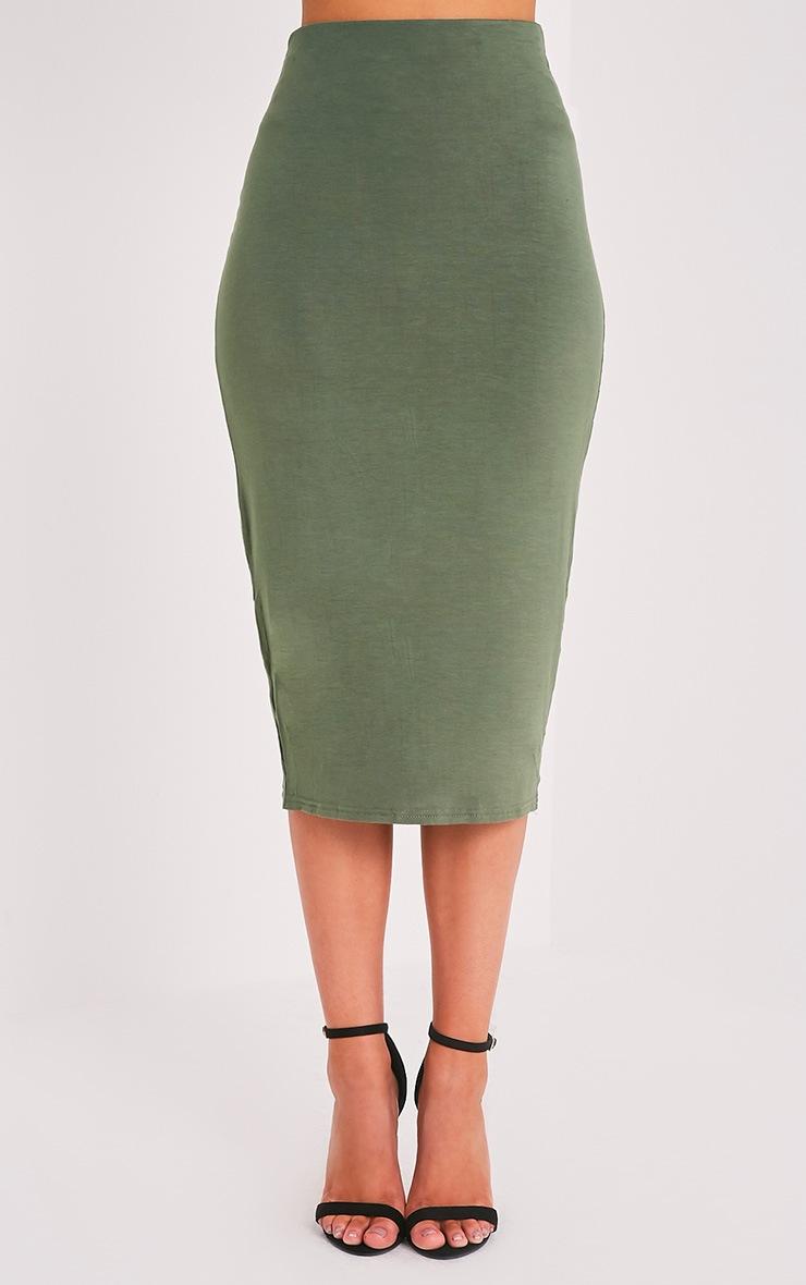 Basic Khaki Longline Midi Skirt 2