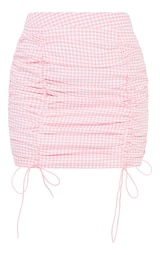 Pink Gingham Ruched Mini Skirt 6