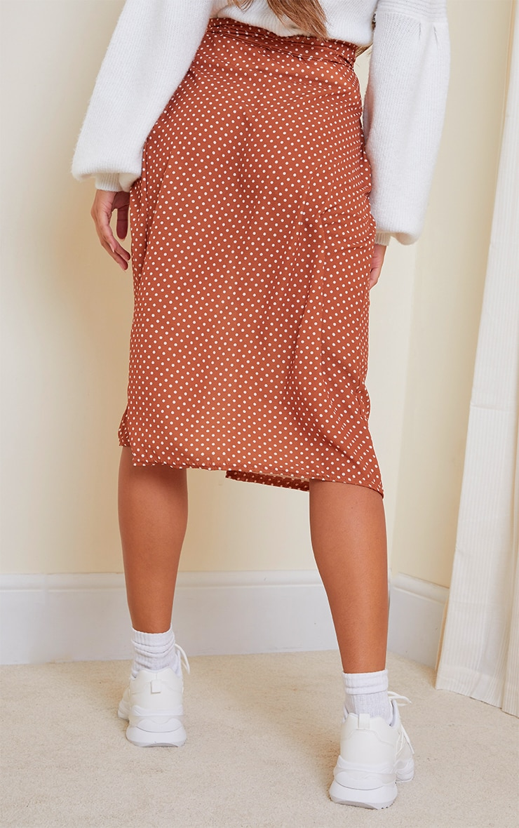 Rust Wrap Around Polka Dot Midi Skirt 3