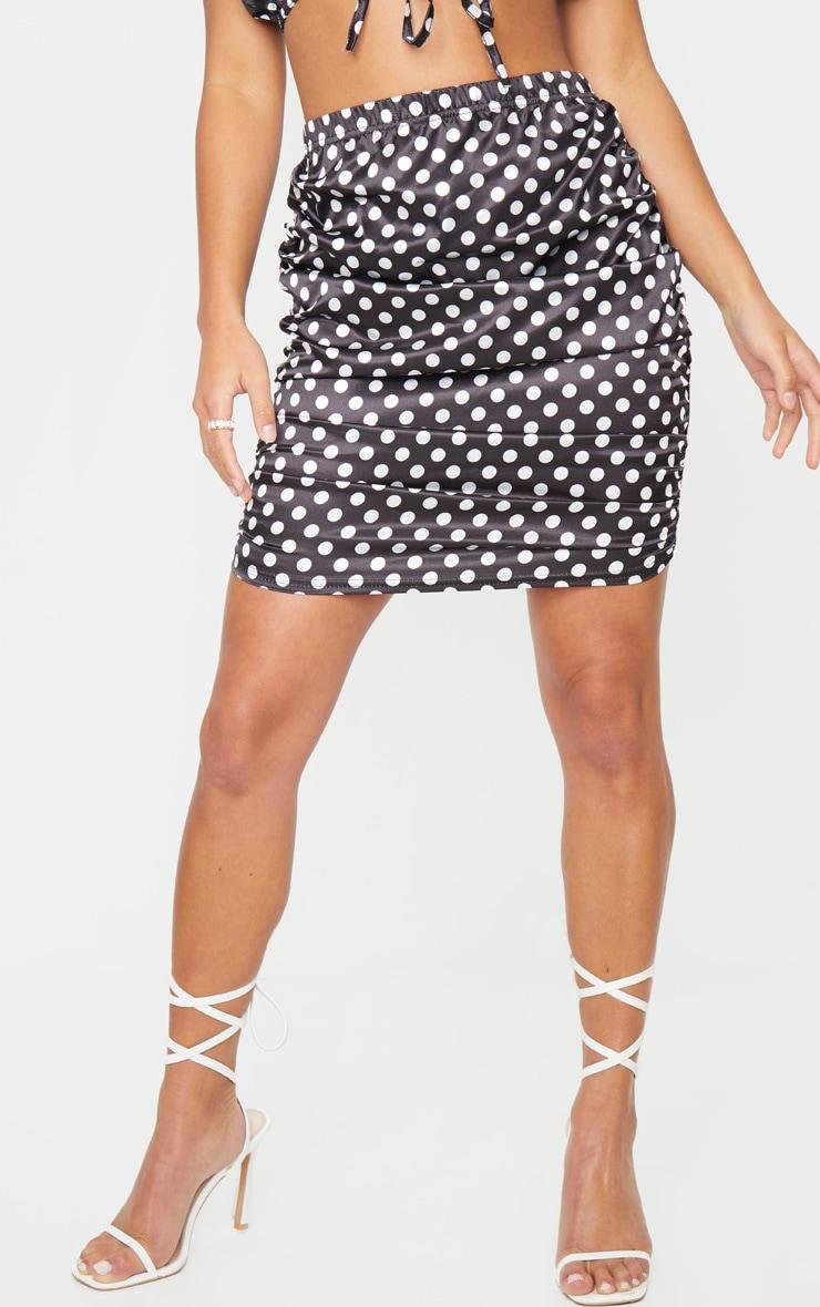 Petite Black Satin Ruched Polka Dot Skirt 2
