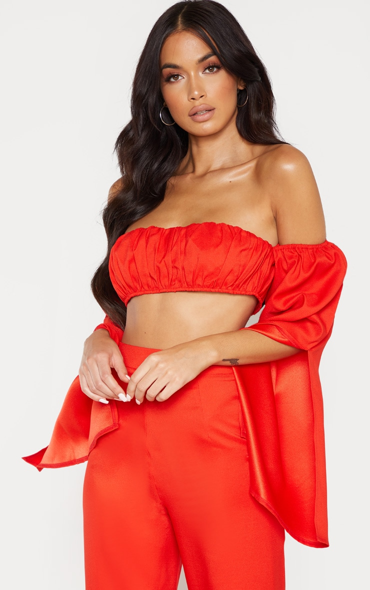 Red Bardot Split Sleeve Crop Top  4