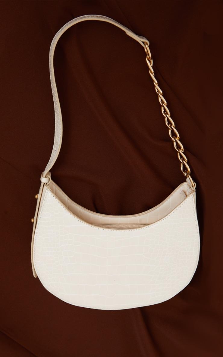 Cream Croc Crescent Mixed Chain Strap Shoulder Bag 2