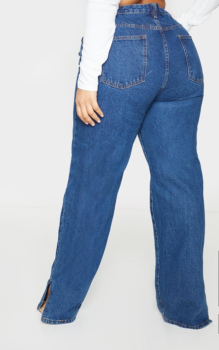 Plus Dark Blue Wash Split Hem Jeans 3