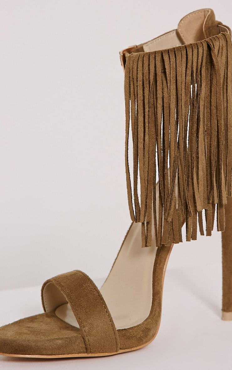 Billie Khaki Faux Suede Fringed Heeled Sandals 5