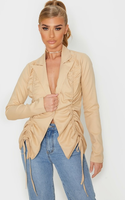 Stone Woven Ruched Detail Fitted Jacket