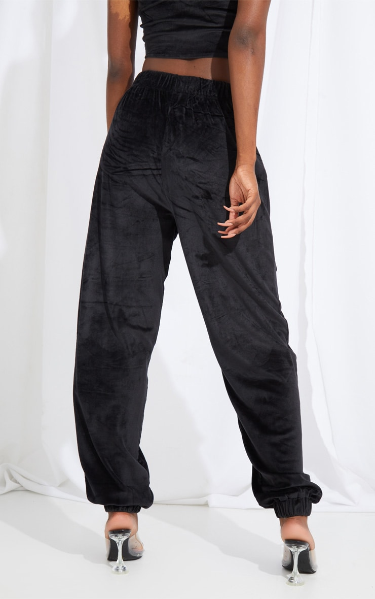 Tall Black Cargo Pocket Detail Velvet Joggers 3