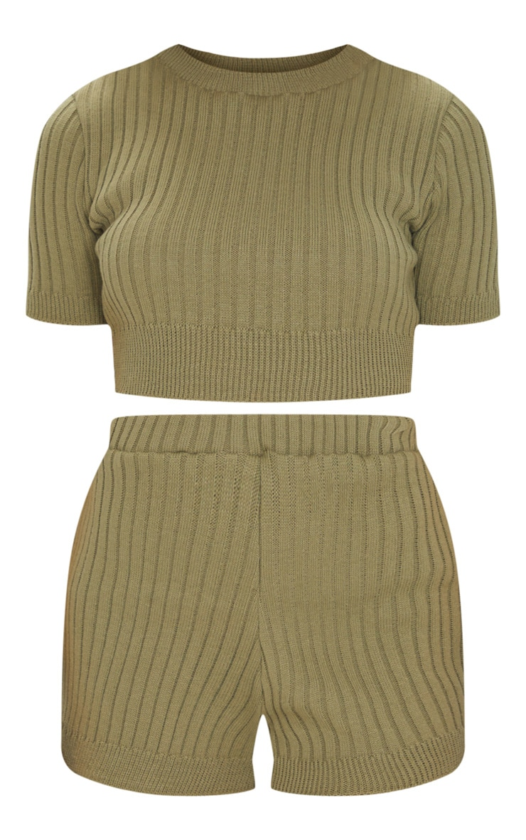 Khaki Wide Rib Knitted Short Set 5