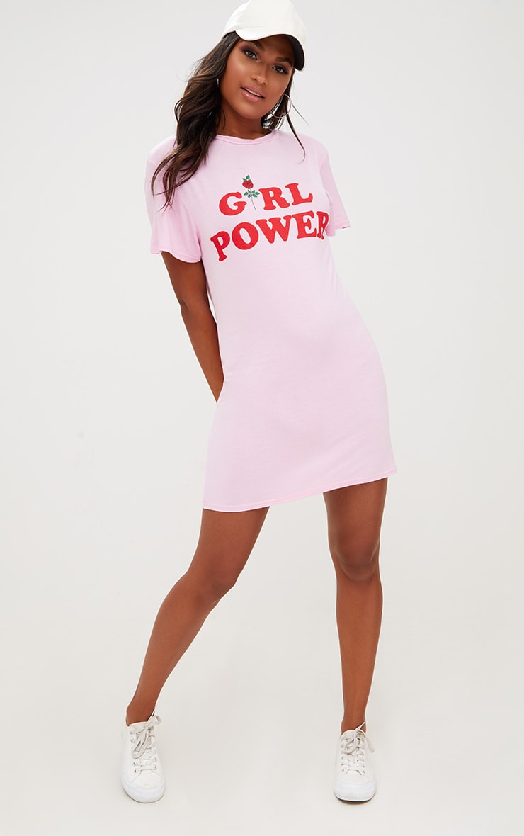 Pink Girl Power T Shirt Dress 1