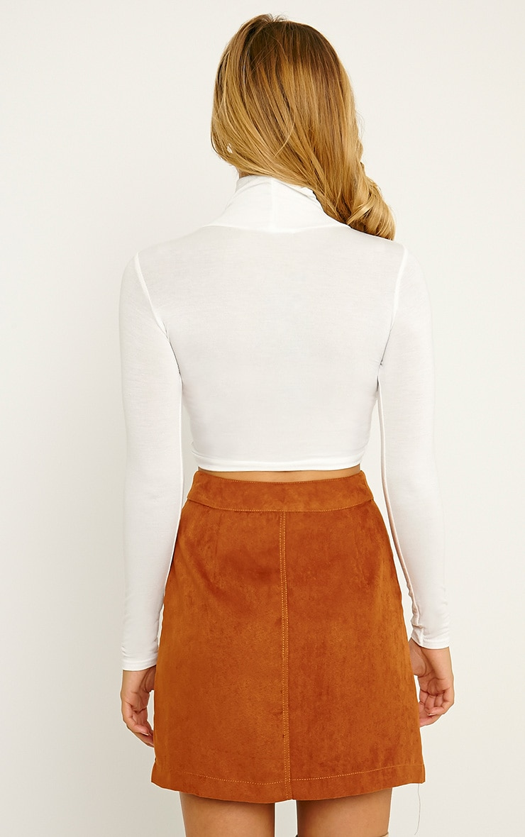 Basic Cream Roll Neck Crop Top 2