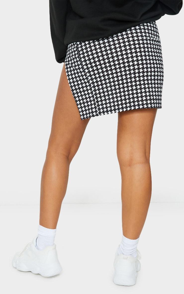 Dogtooth Print Split Front Mini Skirt 3