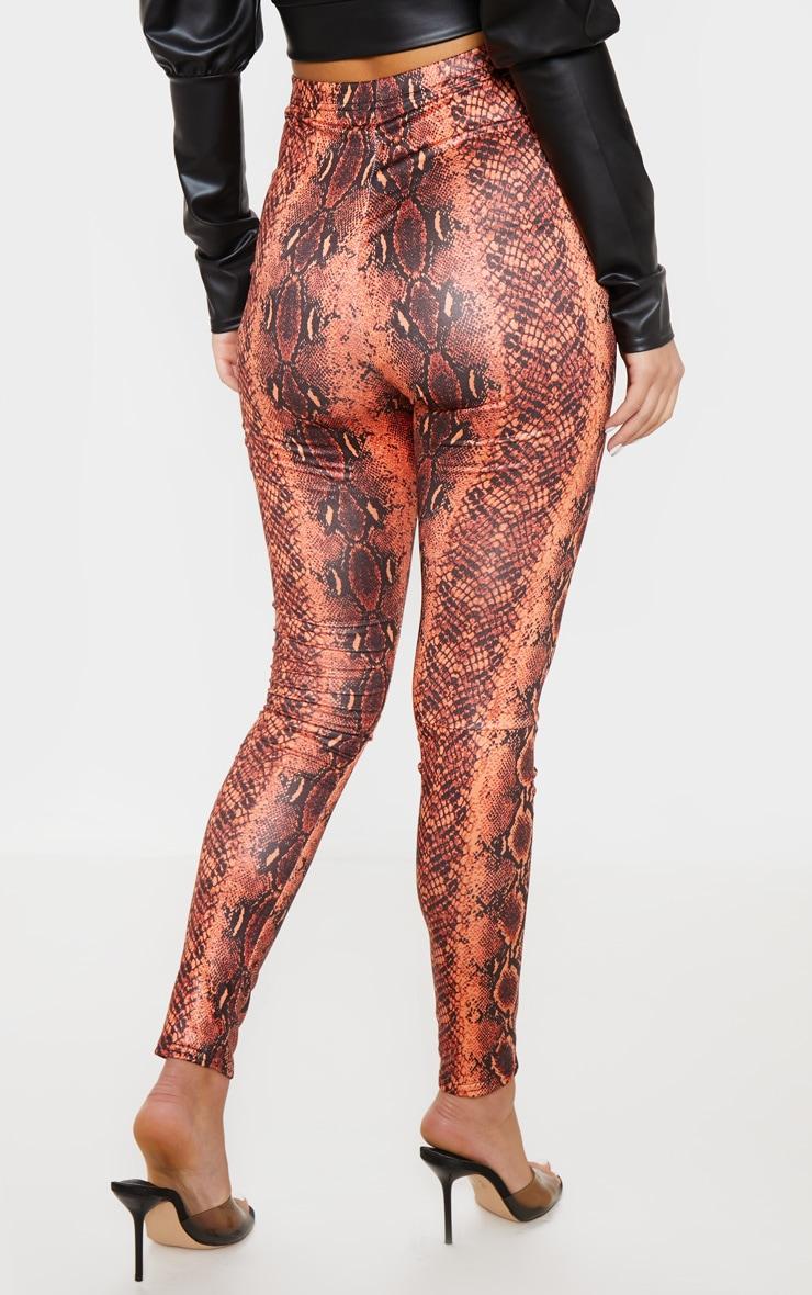 Neon Orange Wet Look Snake Print Legging 3
