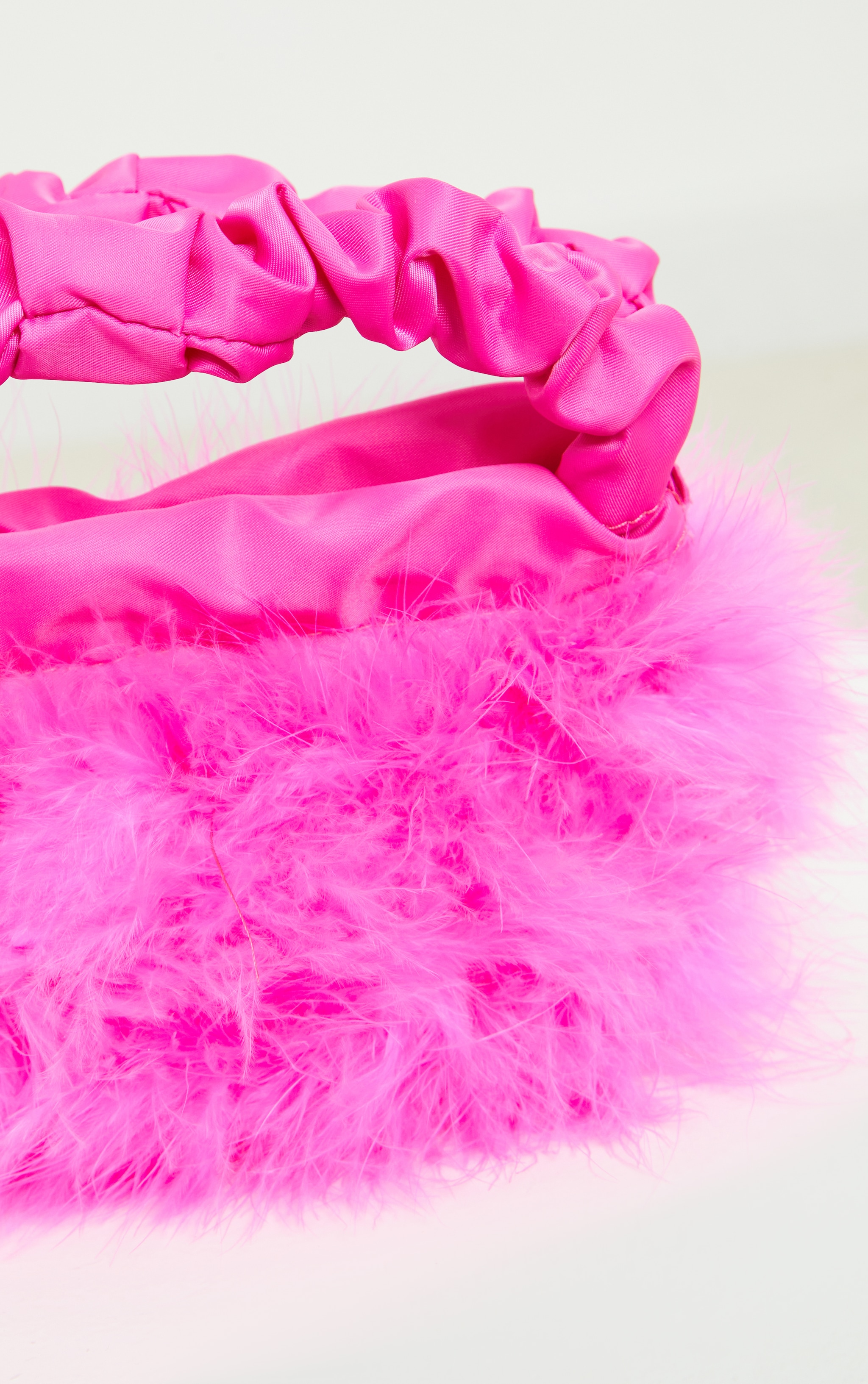 Pink Feather Ruched Handle Mini Grab Bag 3