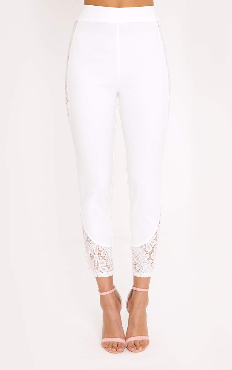 Mikaylah White Lace Insert Suit Trousers 2