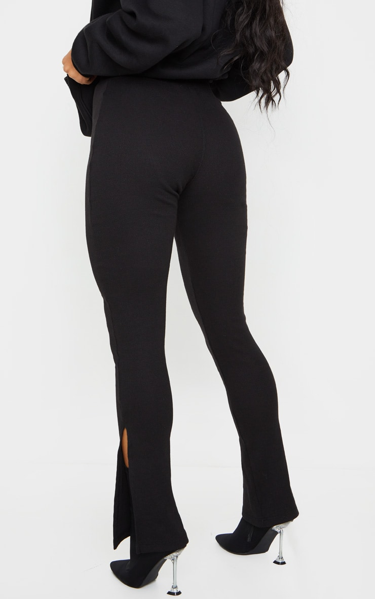 Black High Waisted Textured Rib Split Hem Pants 3