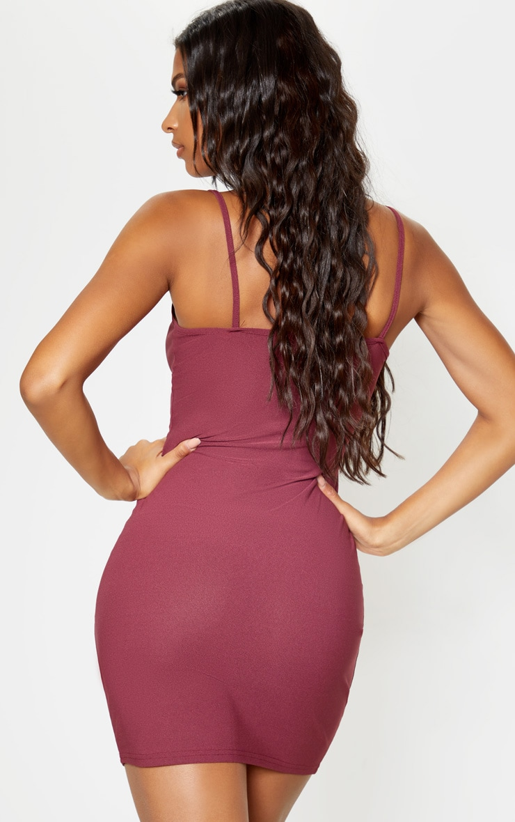 Aubergine Strappy Twist Front Bodycon Dress 2