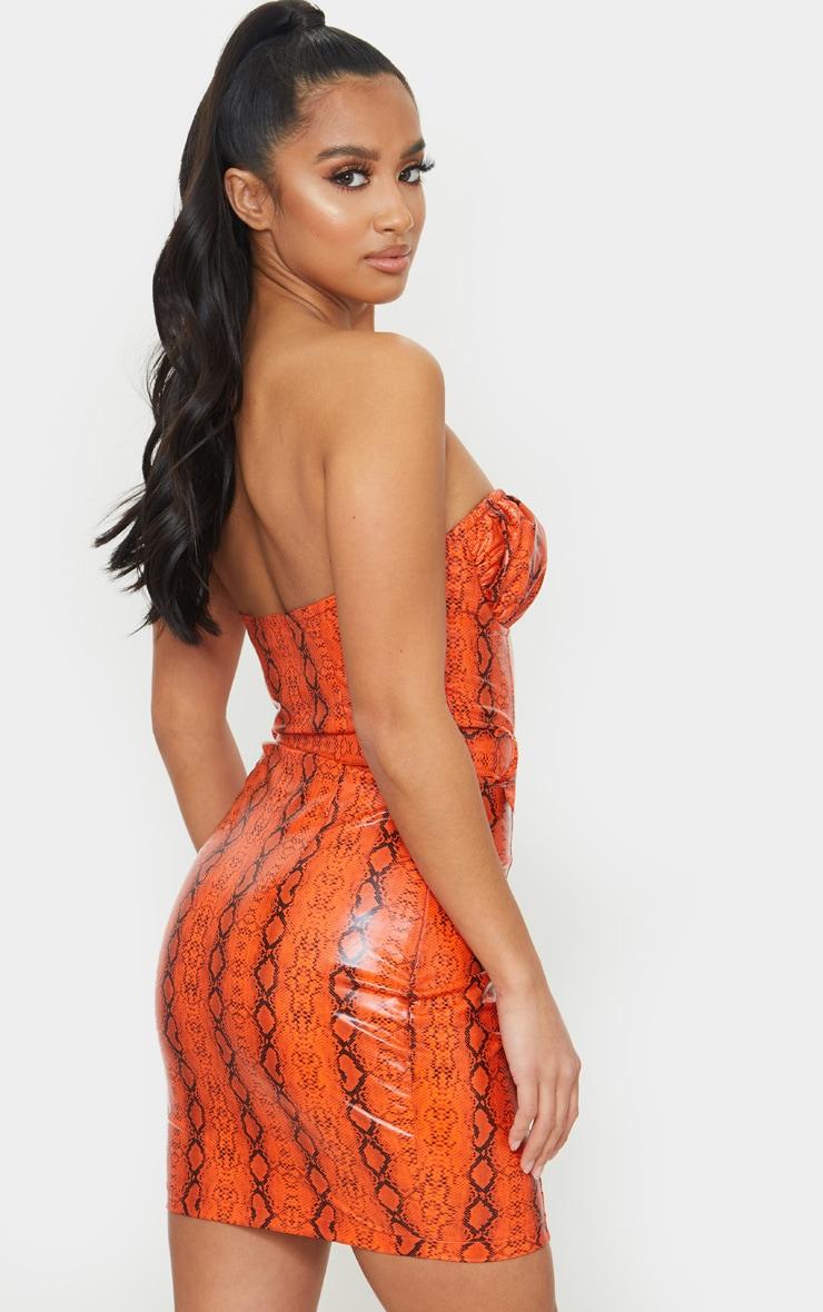 Petite Orange Snake Print Belted Bandeau Bodycon Dress 2