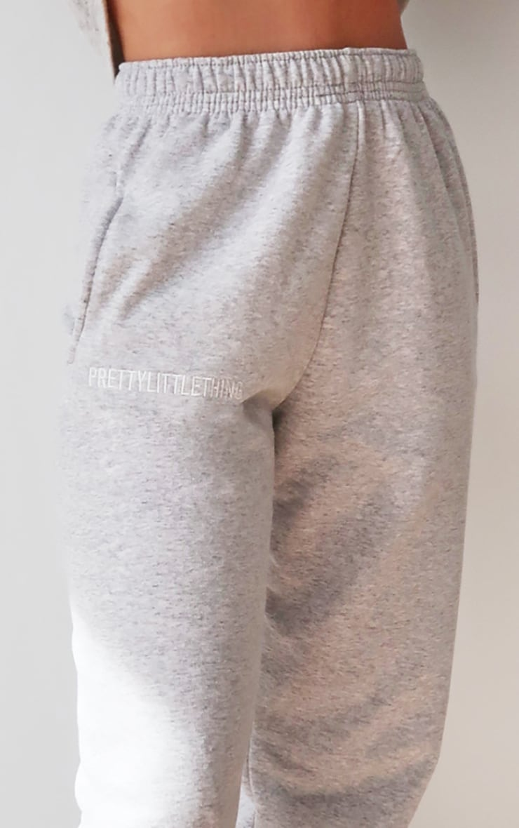 PRETTYLITTLETHING Grey Marl Embroidered Slogan Joggers 4