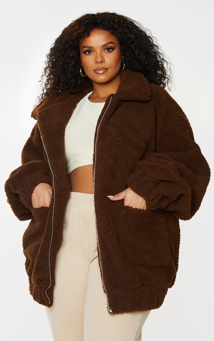 Plus Chocolate Brown Oversized Borg Pocket Front Coat 1
