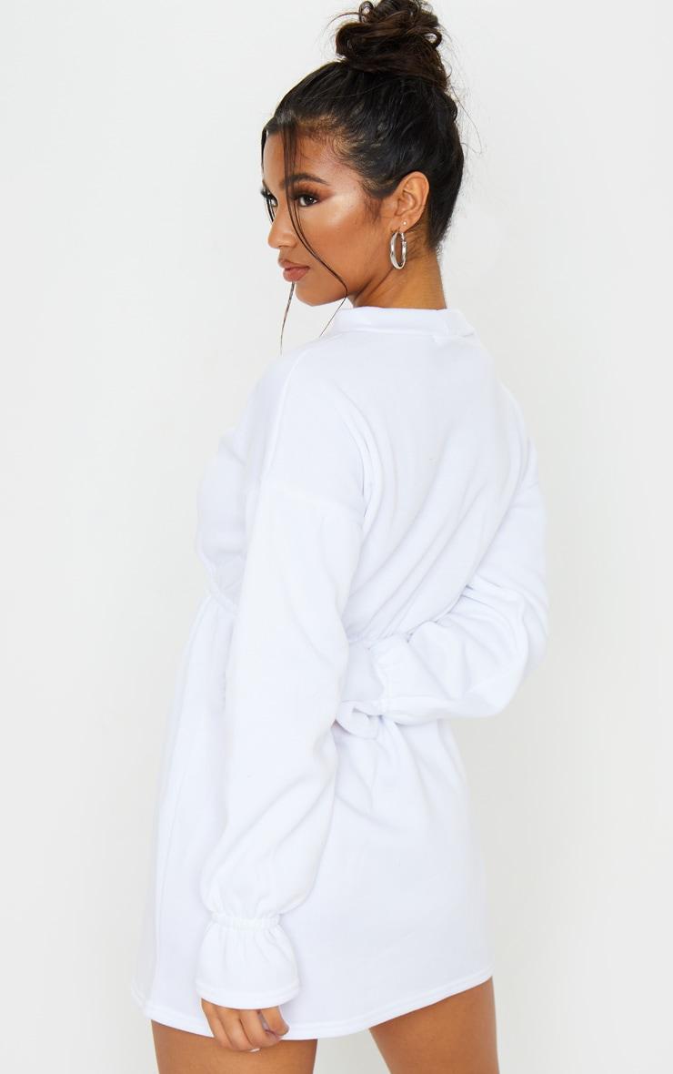 White Elastic Waist Fleece Jumper Dress 2
