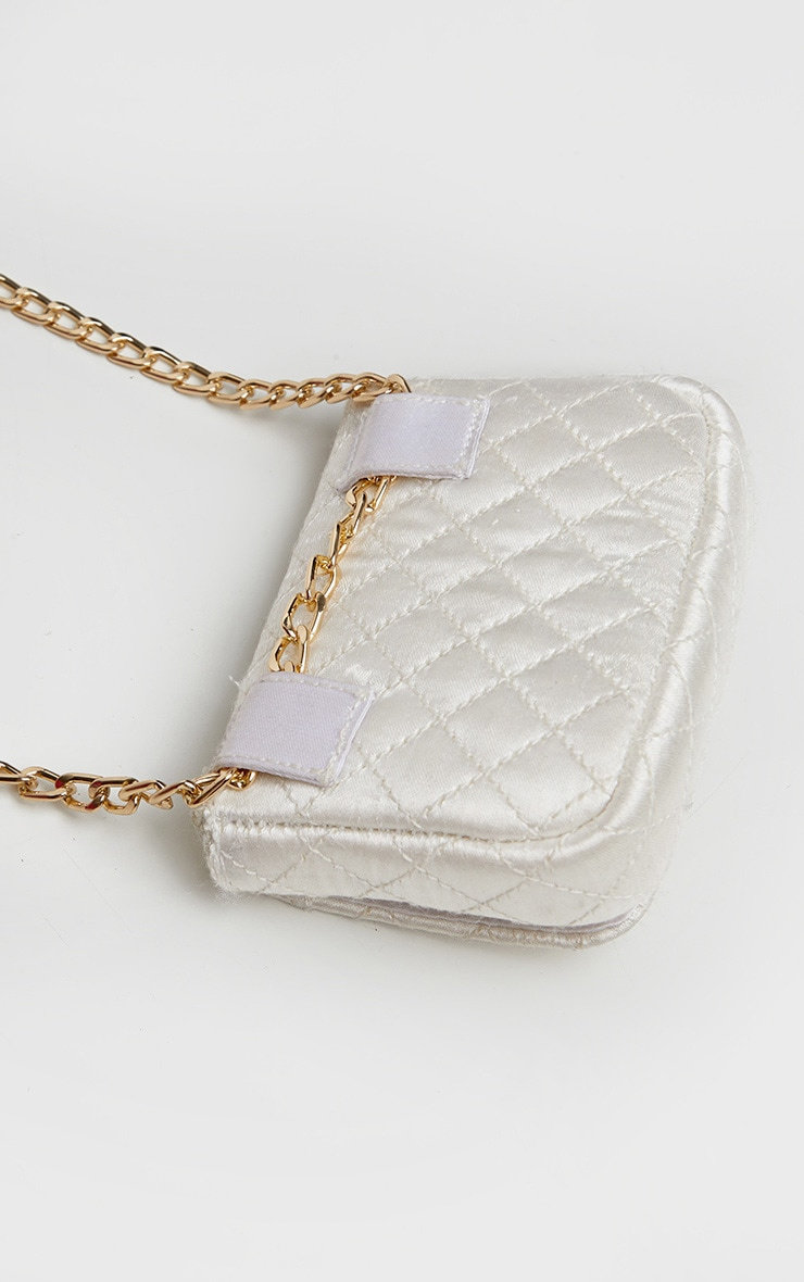 White Quilted Bag Gold Chain Belt 4