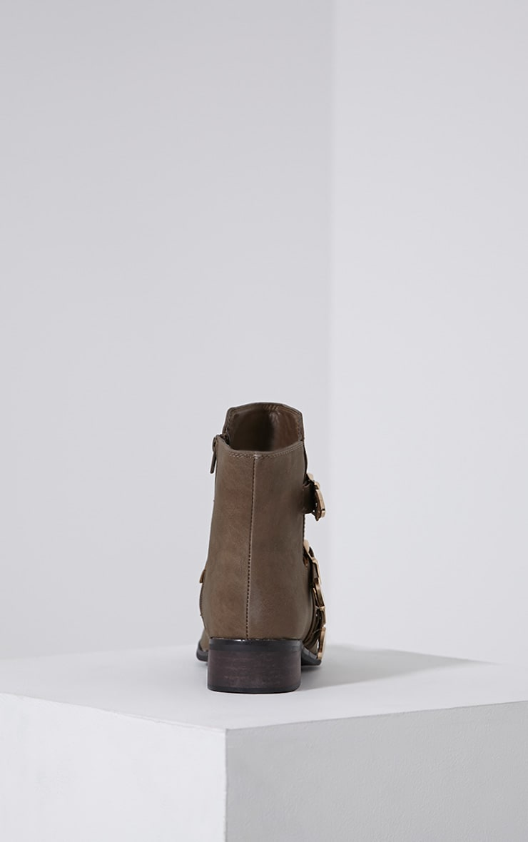 Martha Taupe Three Buckle Ankle Boots 5