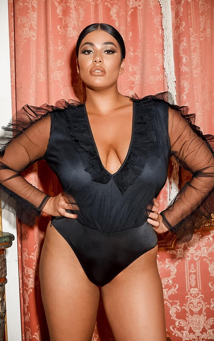 Plus Black Mesh Plunge Front Bodysuit 3