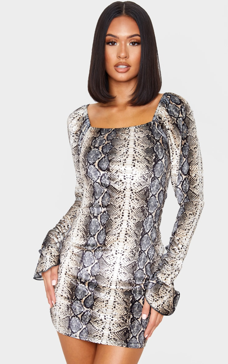 Tan Snake Print Velvet Square Neck Long Sleeve Shift Dress 1