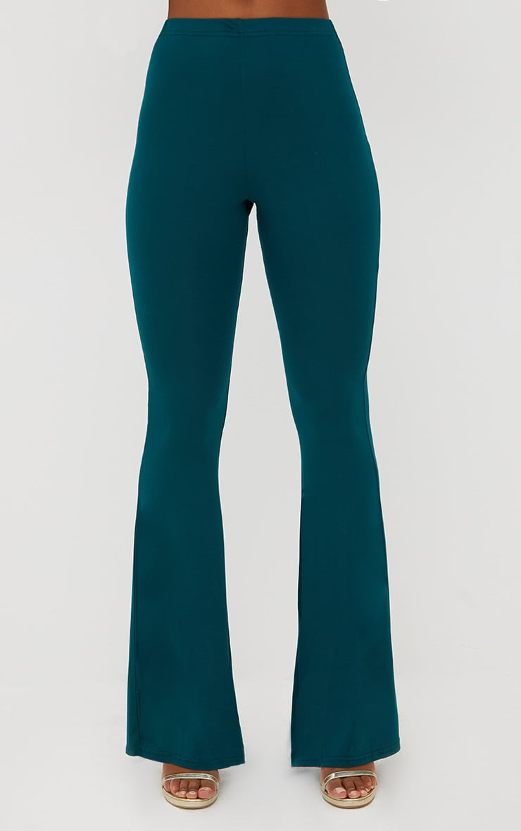 Emerald Green Basic Jersey Flared Trousers 2
