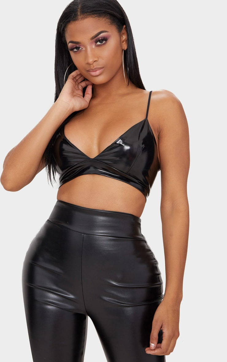 Shape Black Vinyl Bralet 1
