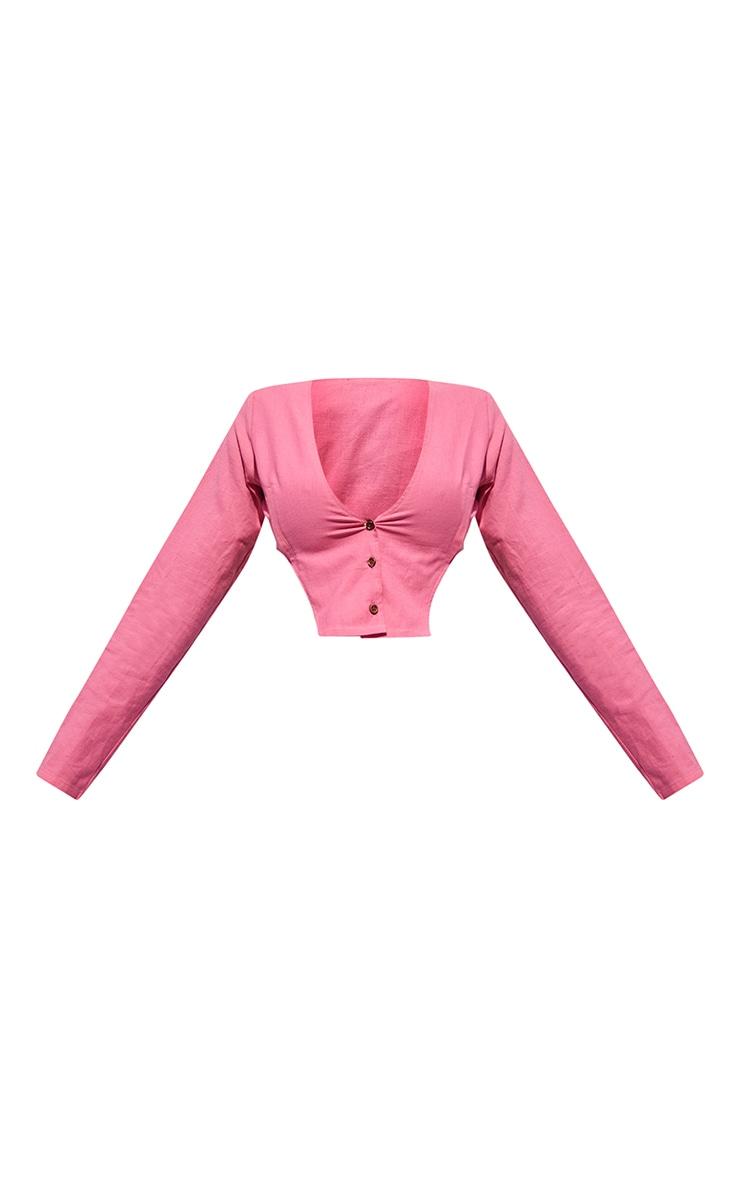 Hot Pink Linen Feel Shoulder Pad Button Front Long Sleeve Crop Top 5