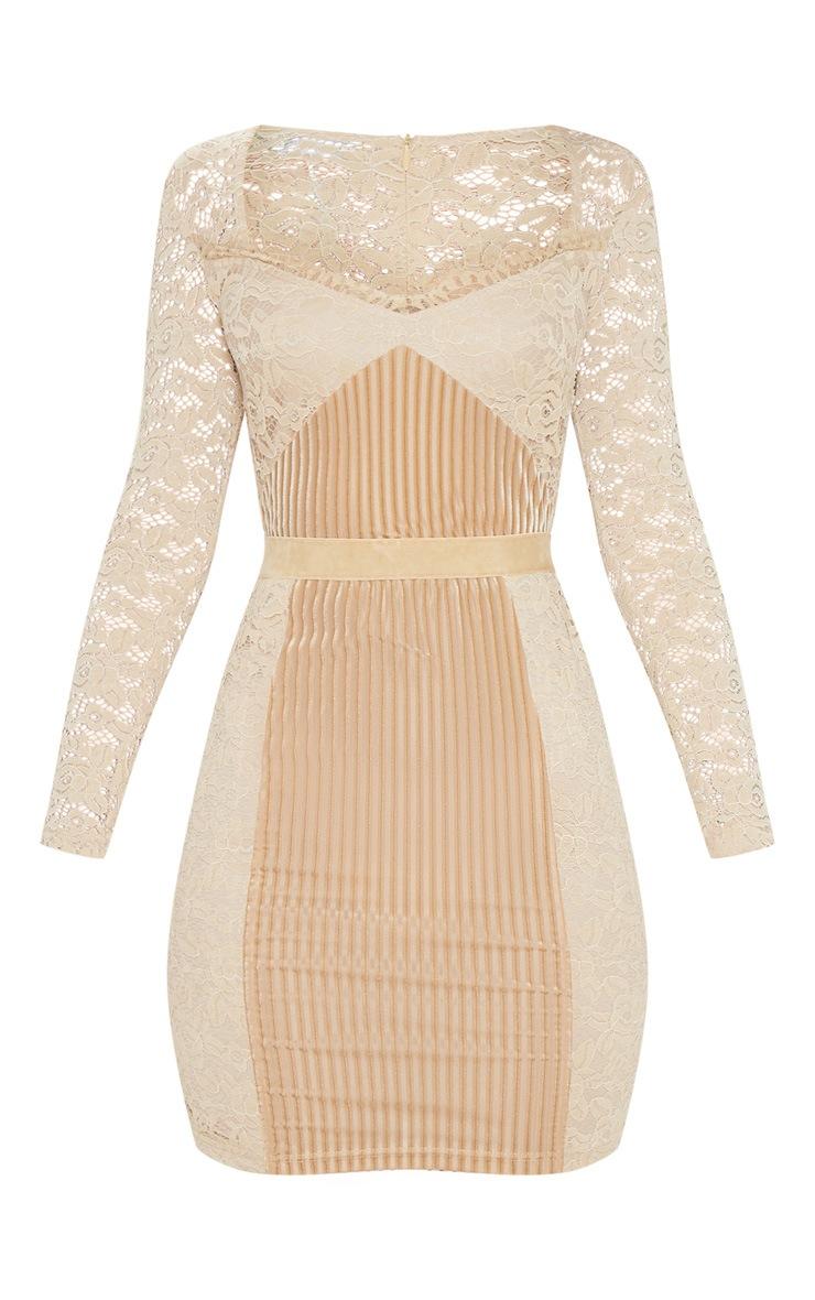 Nude Lace Velvet Insert Bodycon Dress 3