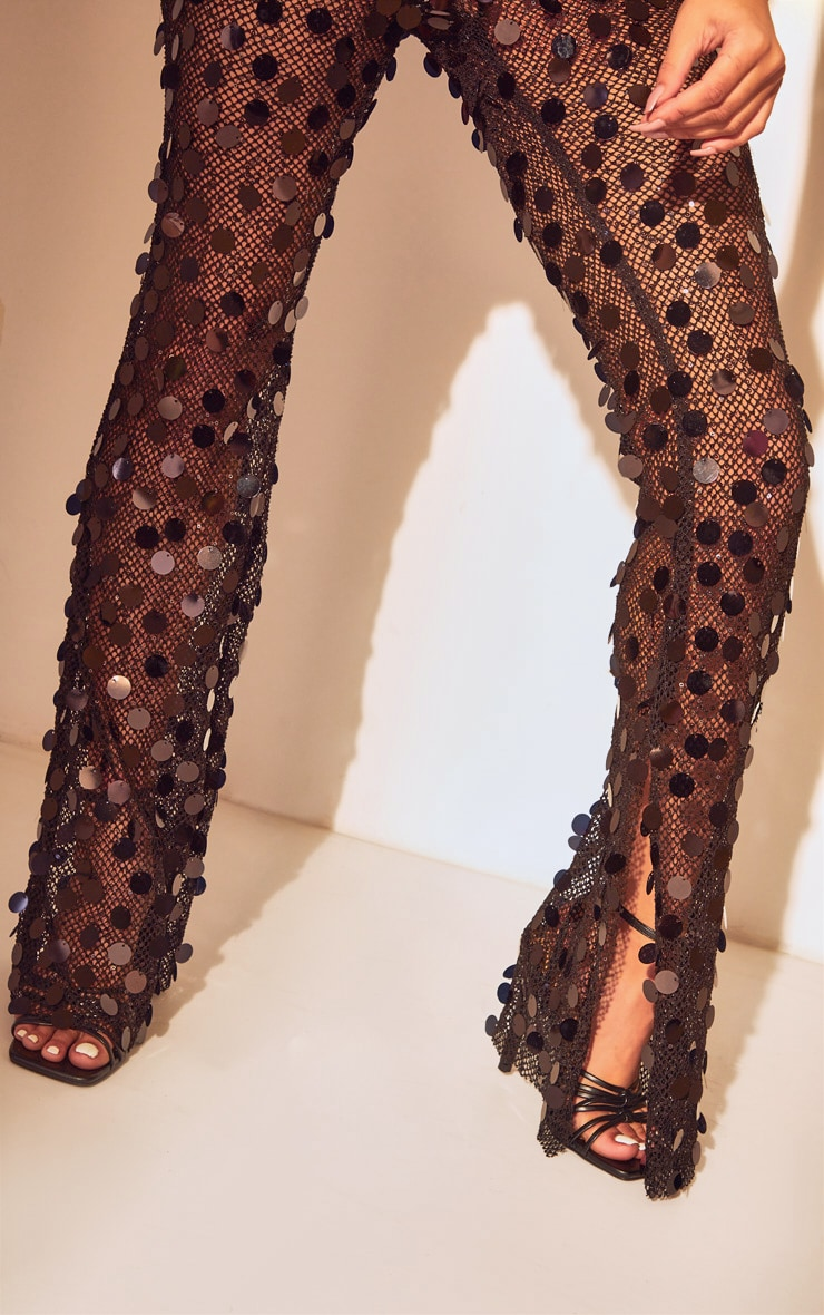 Black Sequin Fishnet Flare Trousers 4