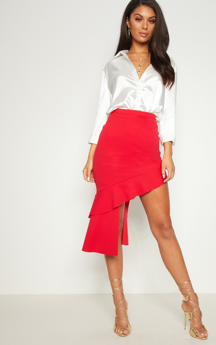 Red Frill Asymmetric Midaxi Skirt