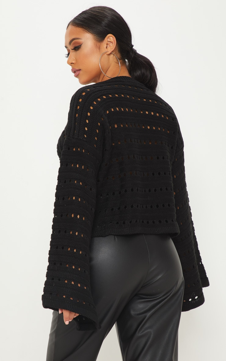 Petite Black Flared Sleeve Jumper 2