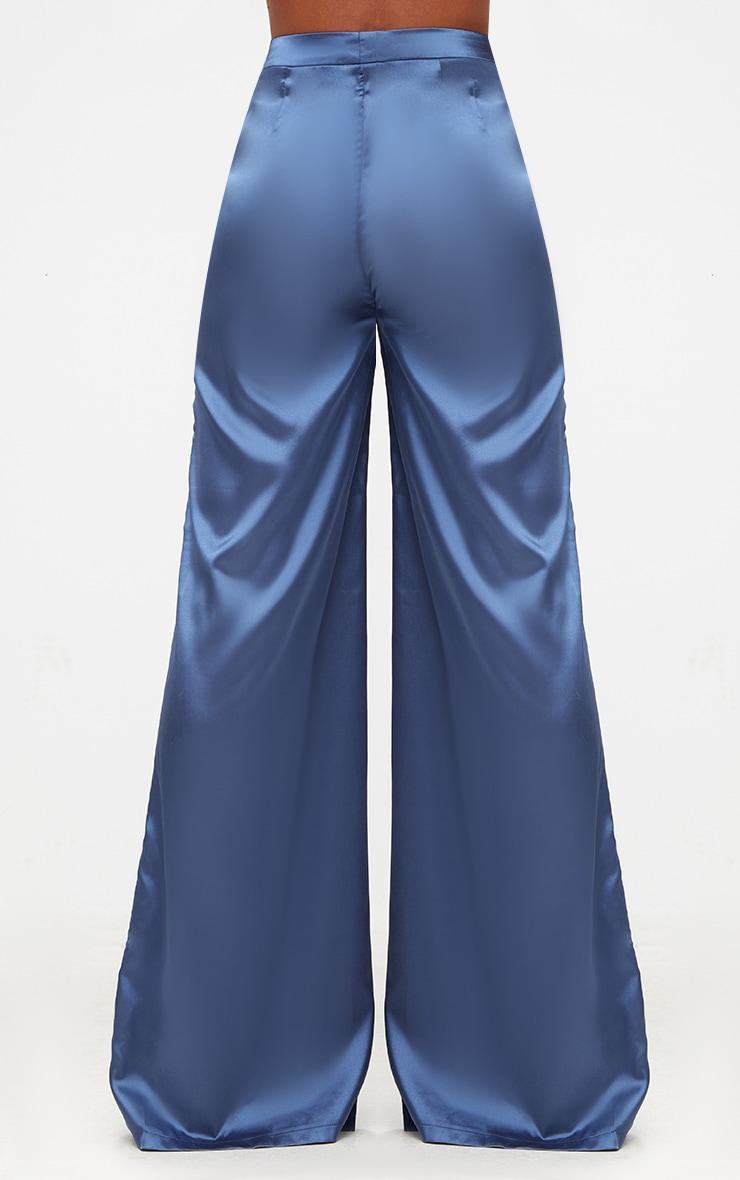 Blue Satin Wide Leg Trousers 4