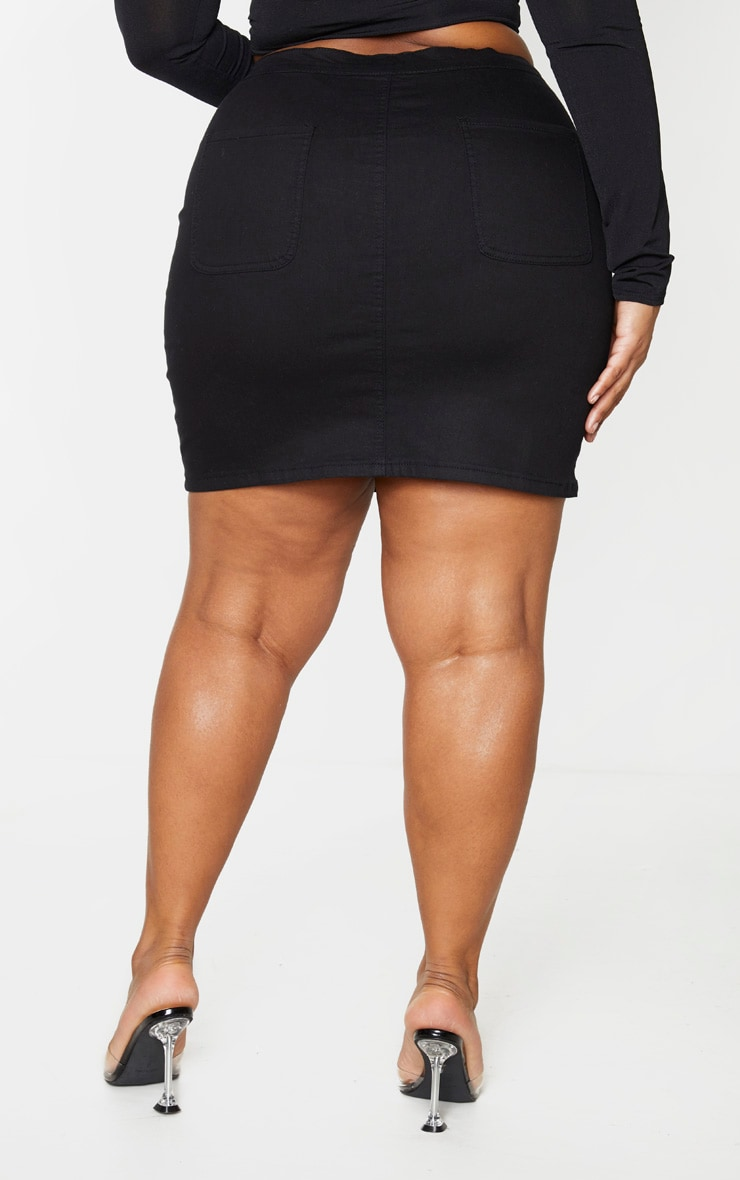 Plus Black Disco Fitted Denim Skirt 2